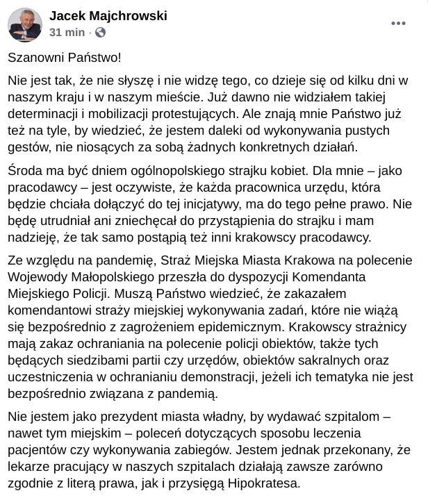Jacek Majchrowski o protestach w sprawie zaostrzenia regulacji dotyczących aborcji. strajk kobiet