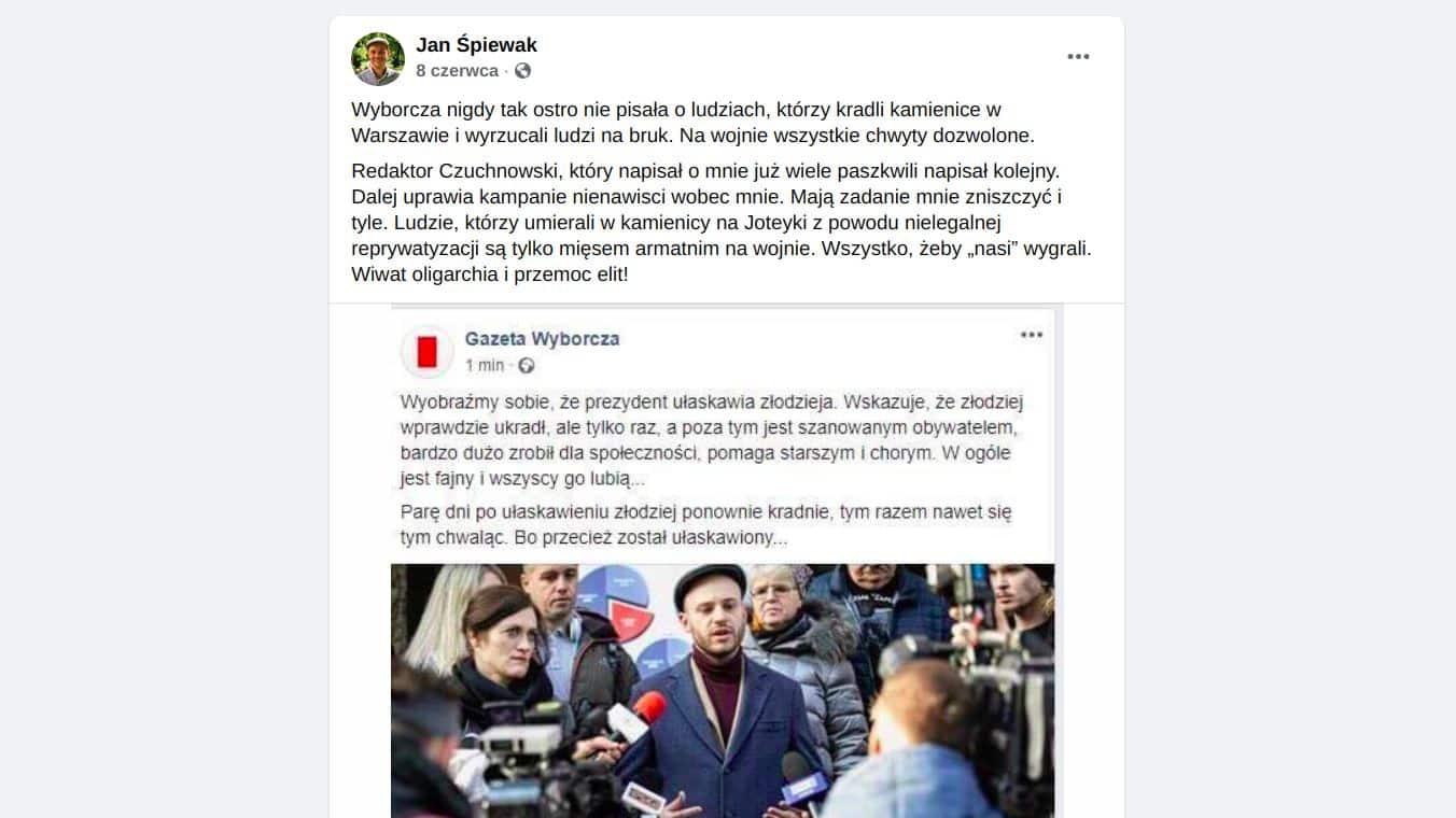 Jan Śpiewak Gazeta Wyborcza porównuje do złodzieja