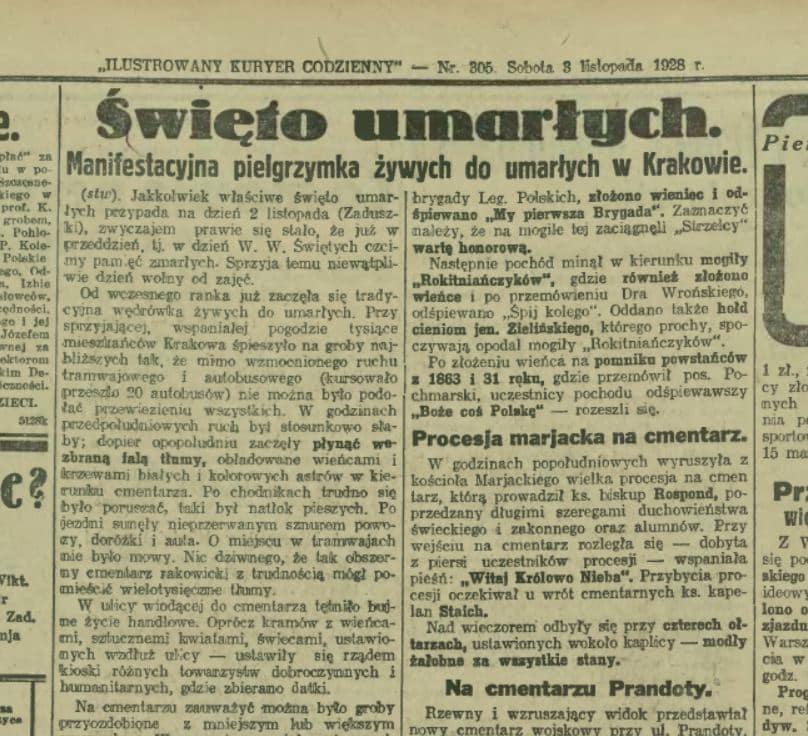 Ilustrowany Kuryer Codzienny opisywał pielgrzymki krakowian na Cmentarz Rakowicki. Źródło: Małopolska Biblioteka Cyfrowa.