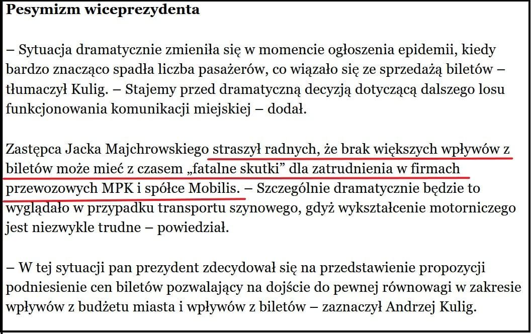 W-ce prezydent Andrzej Kulig szantażuje radnych, że brak zgody na podwyżki doprowadzi do zwolnień. Źródło: lovekrakow.pl