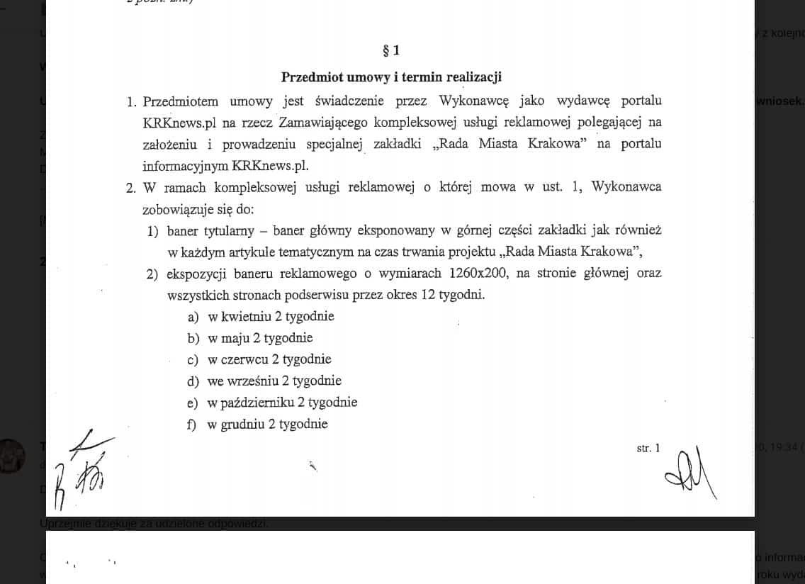 Przedmiot umowy na promocję Rady Miasta Krakowa w serwisie KRKNews.