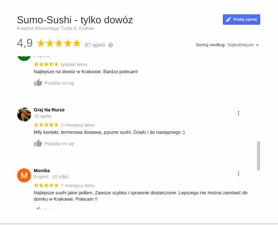 Sumo-Sushi. Opinie w Google.