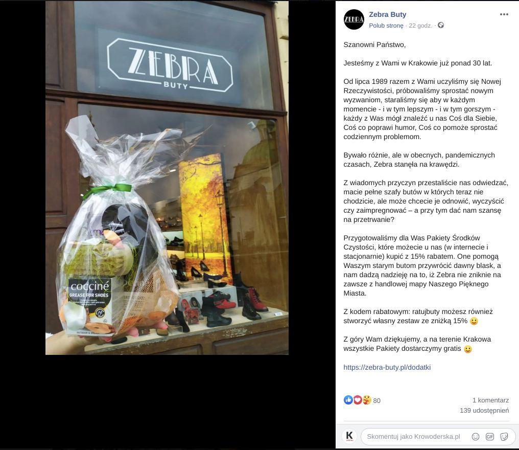 Firma Zebra Buty z powodu pandemii znalazła się na skraju upadku. Prosi, by zajrzeć na zakupy.