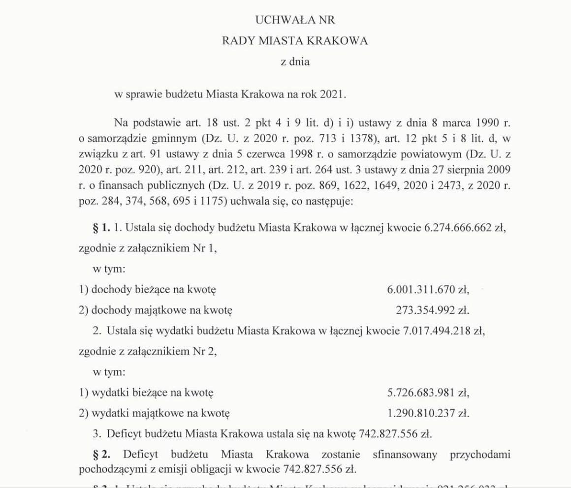 Projekt Budżetu Krakowa 2020