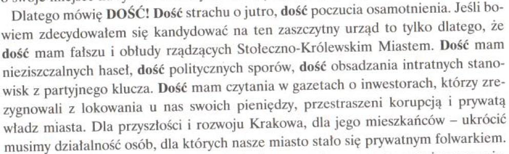 Program wyborczy Jacka Majchrowskiego z 2002 roku. [FRAGMENT]