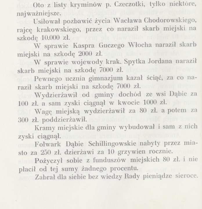 """Lista zarzutów wobec Erazma Czeczotki. Źródło: Józef Muczkowski, """"Krwawy burmistrz""""."""