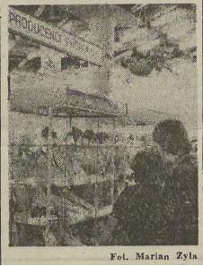 """Stoisko odzieżowe w Domu Handlowym """"Jubilat"""". Jedno z miejsc w którym grasował gang """"rozmieniaczy"""". Źródło: Dziennik Polski z 1980 r."""