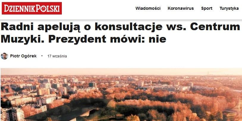 """Konultacje ws. Centrum Muzyki. Prezydent mówi nie.""""W drodze dialogu podejmował będę najważniejsze decyzje"""" - J. Majchrowski 18 lat temu."""