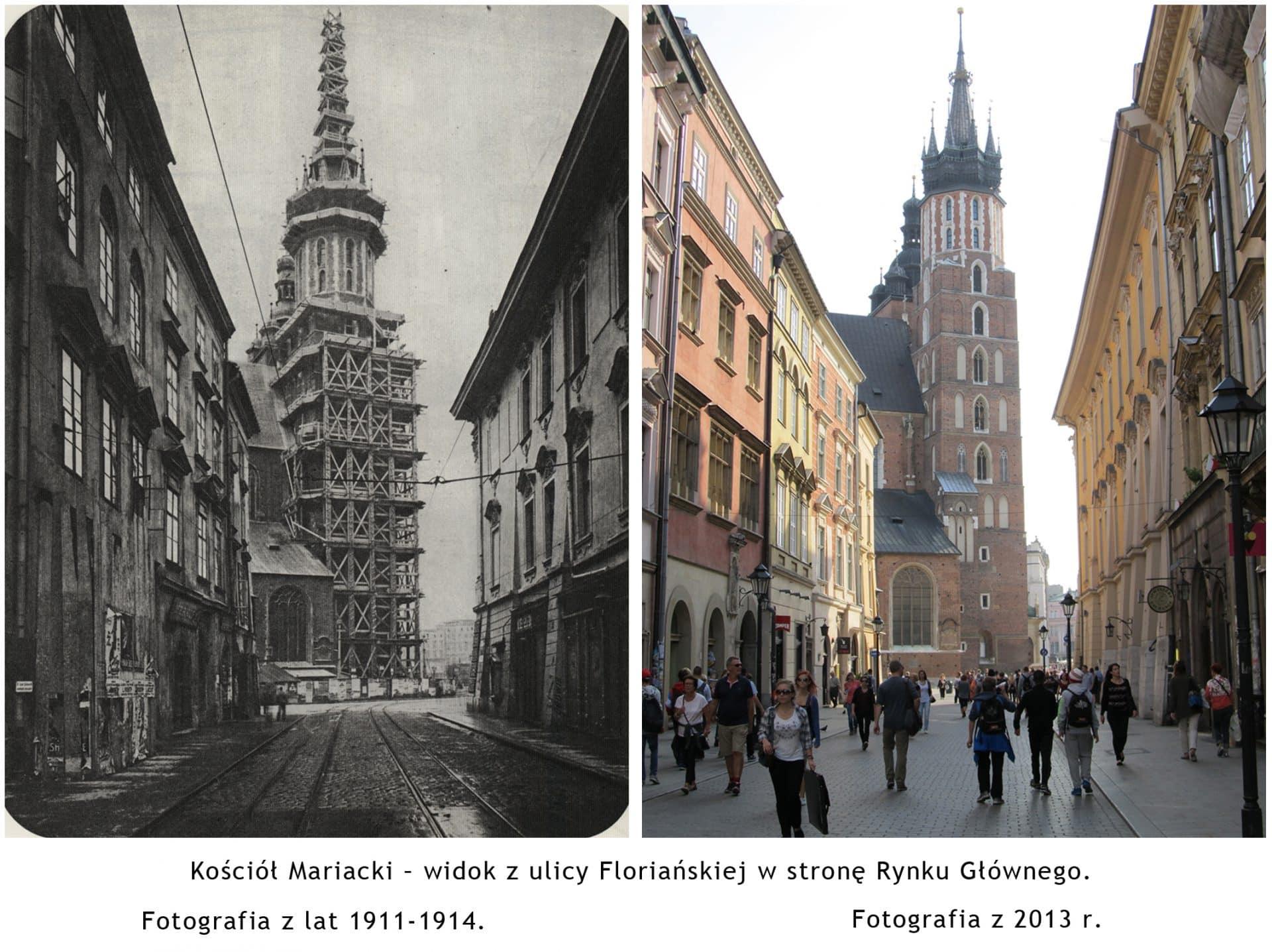 """Kościół Mariacki w Krakowie. Źródło: Źródło: """"Wystawa fotografii dawny i współczesny Kraków""""."""