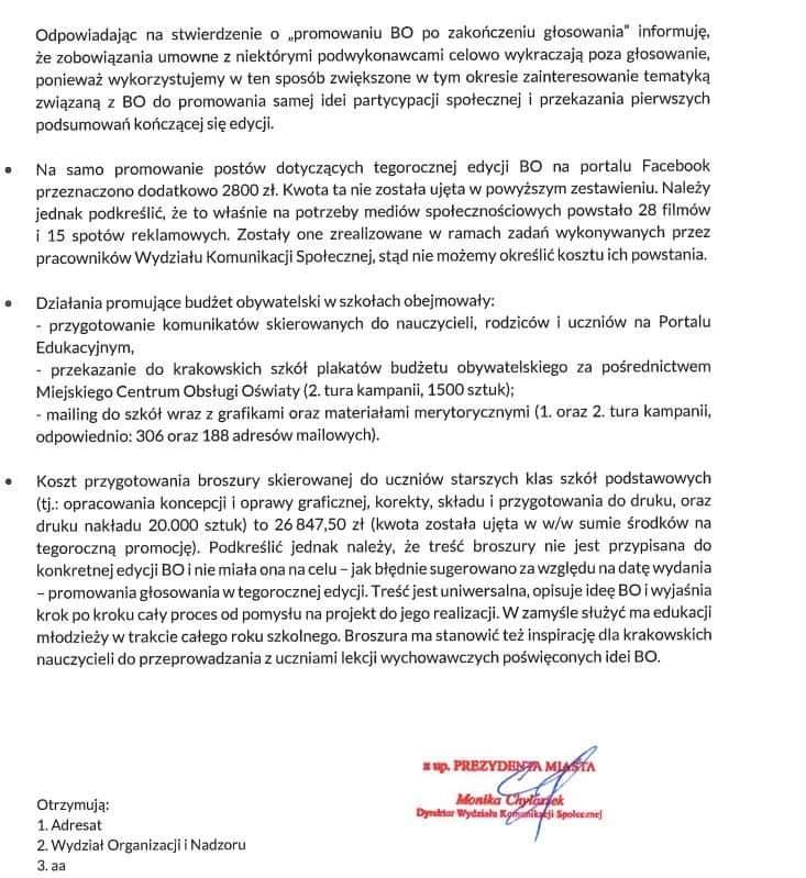 Budżet obywatelski Kraków promocja frekwencja 2020