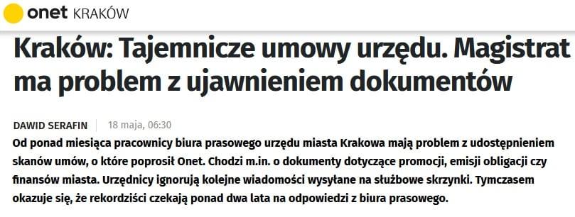 Program Wyborczy Jacka Majchrowskiego: jawność działań Prezydenta i urzędu miasta.