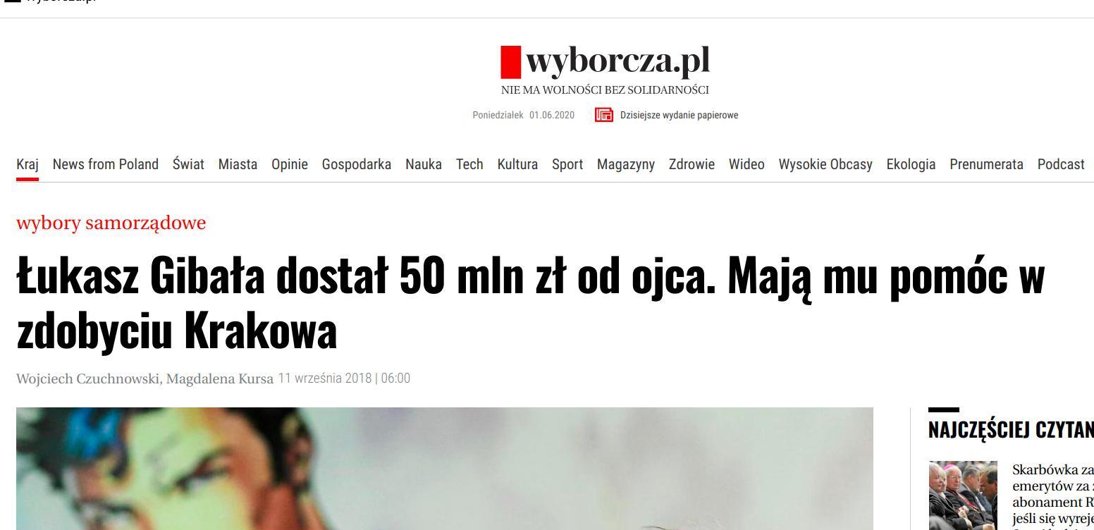 Krakowska Wyborcza przed wyborami.