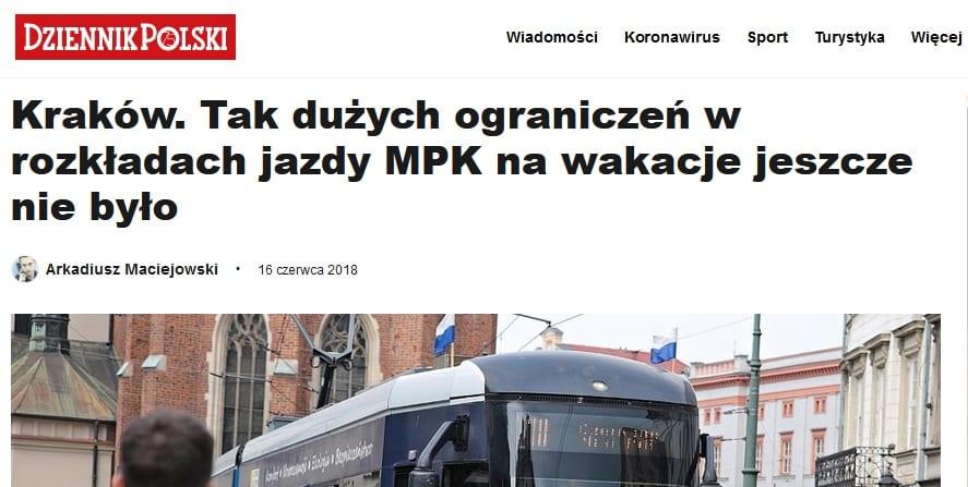 """Program Jacka Majchrowskiego: """"zwiększenie częstotliwości kursowania komunikacji miejskiej""""."""