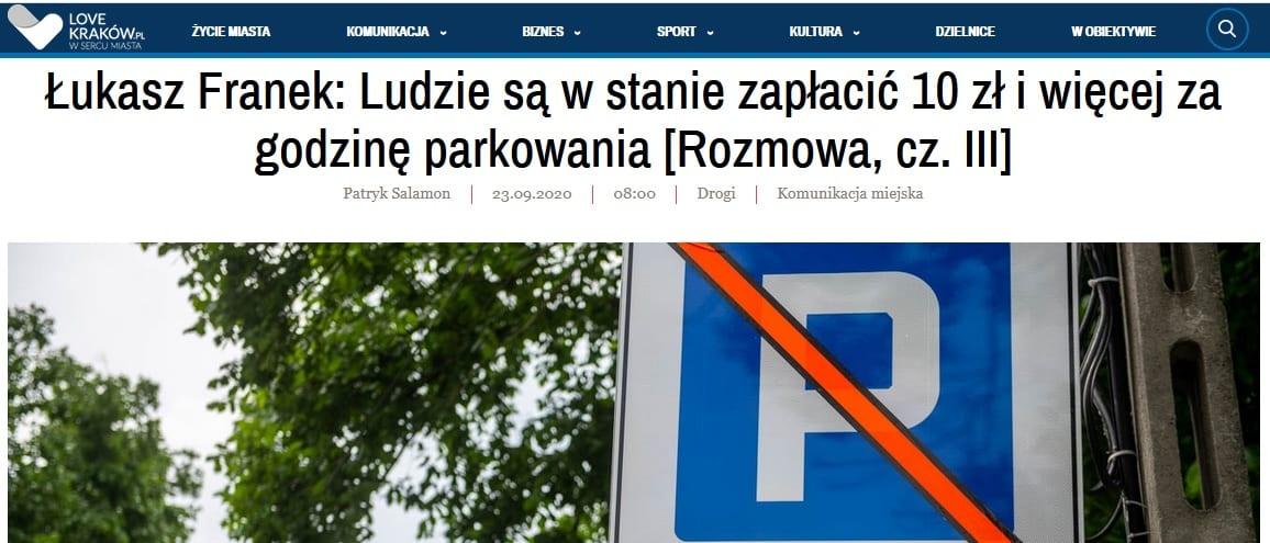 Łukasz Franek. 10 złotych za godzinę parkowania. Kraków. Strefa Płatnego Parkowania.