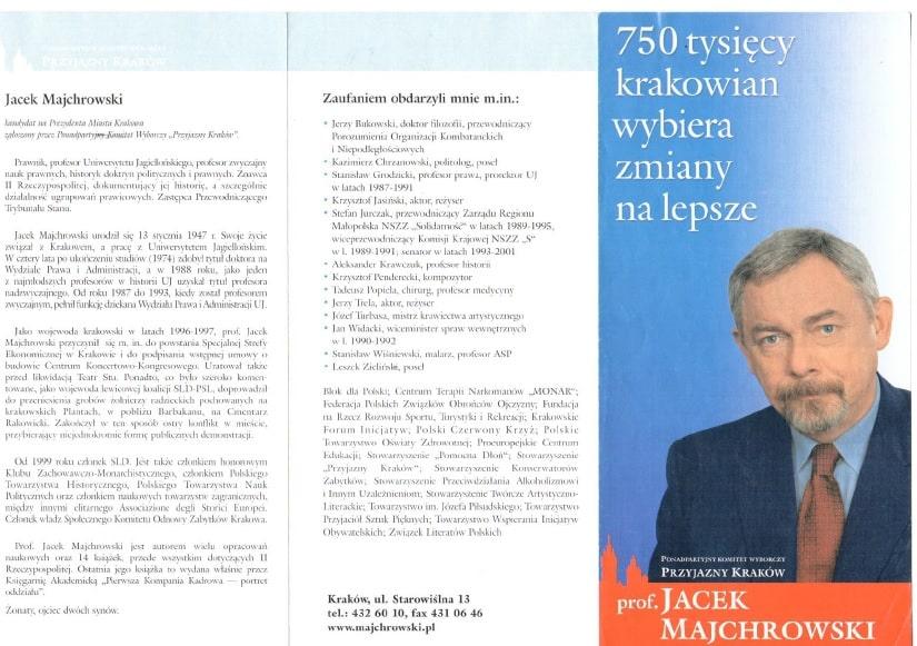 Program Wyborczy Jacka Majchrowskiego 2002.