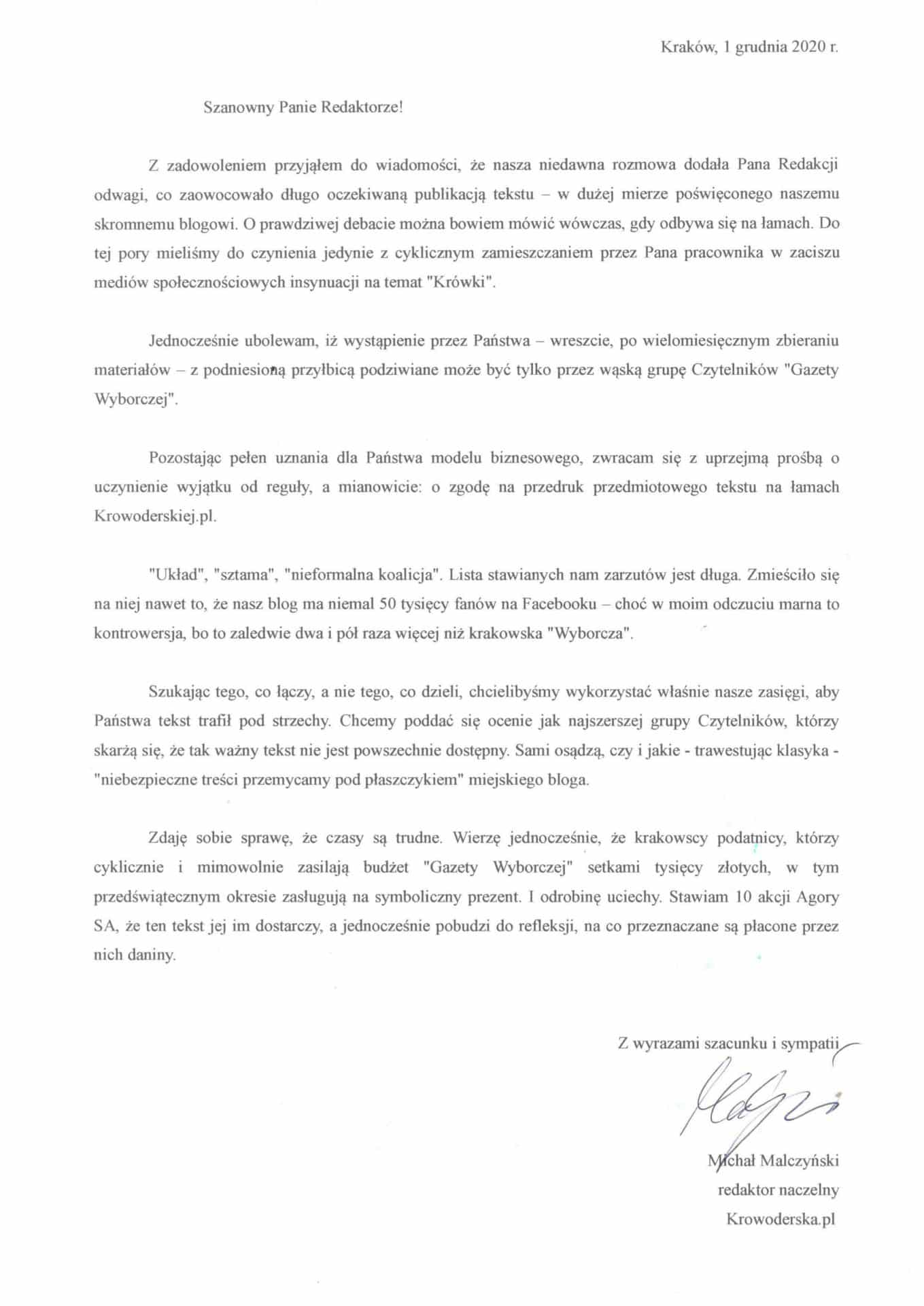 List wysłany przez redaktora naczelnego Krowoderska.pl Michała Malczyńskiego do redaktora naczelnego krakowskiej Gazety Wyborczej Michała Olszewskiego.