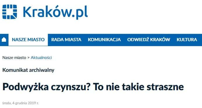 Kraków. Podwyżka czynszów.