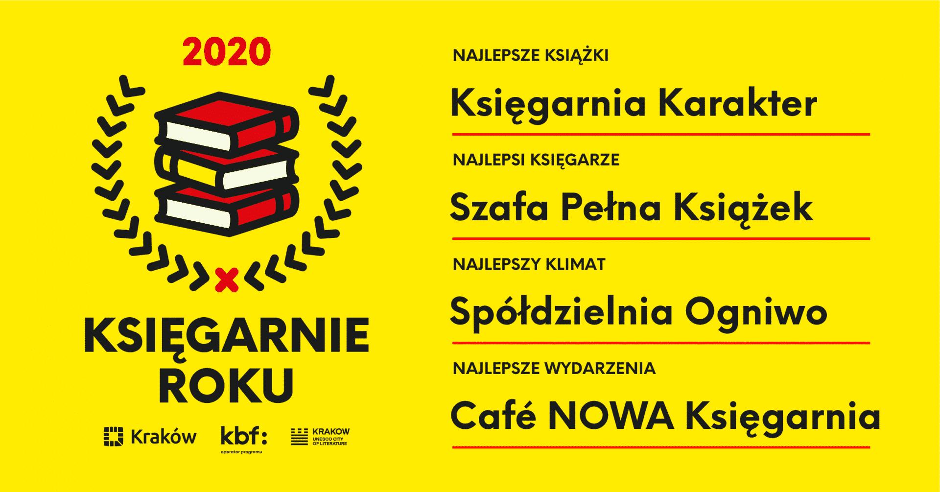 Księgarnie w Krakowie, które zostały wyróżnione w plebiscycie Krakowskiego Biura Festiwalowego.
