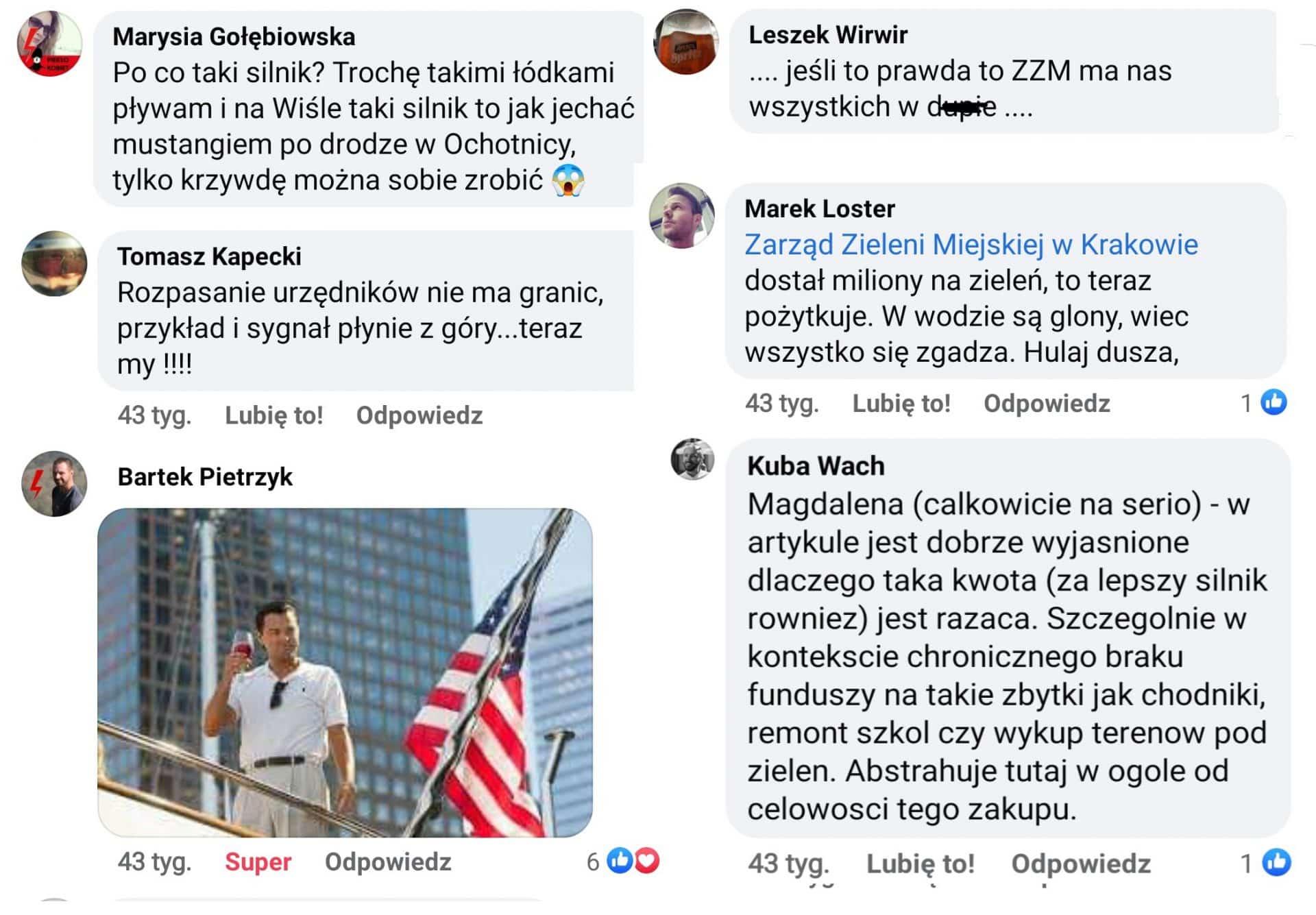 Krakowianie oceniają pracę urzędników Zarządu Zieleni Miejskiej w Krakowie. Zakup motorówki.