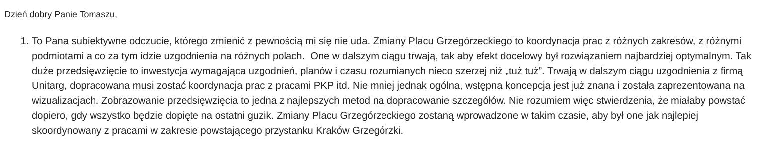 """Odpowiedź krakowskiego Zarządu Zieleni Miejskiej. Stwierdzenie, że wizualizacja """"miałaby powstać dopiero, gdy wszystko będzie dopięte na ostatni guzik"""", to teza dodana przez odpowiadającego."""
