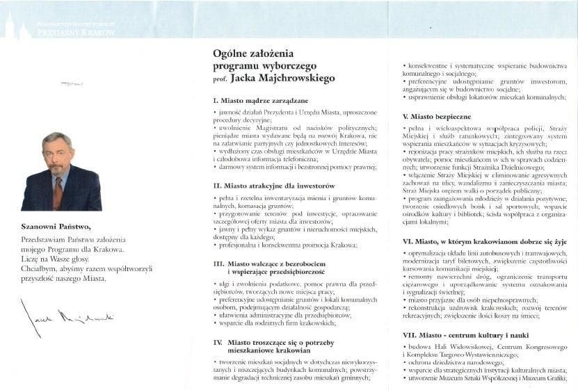 Ulotka wyborcza Jacka Majchrowskiego 2002.