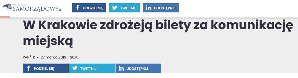 Ceny biletów MPK. Kraków.