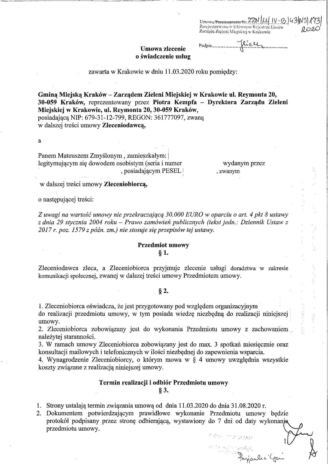 Umowa Zarząd Zieleni Miejskiej Szkolenia