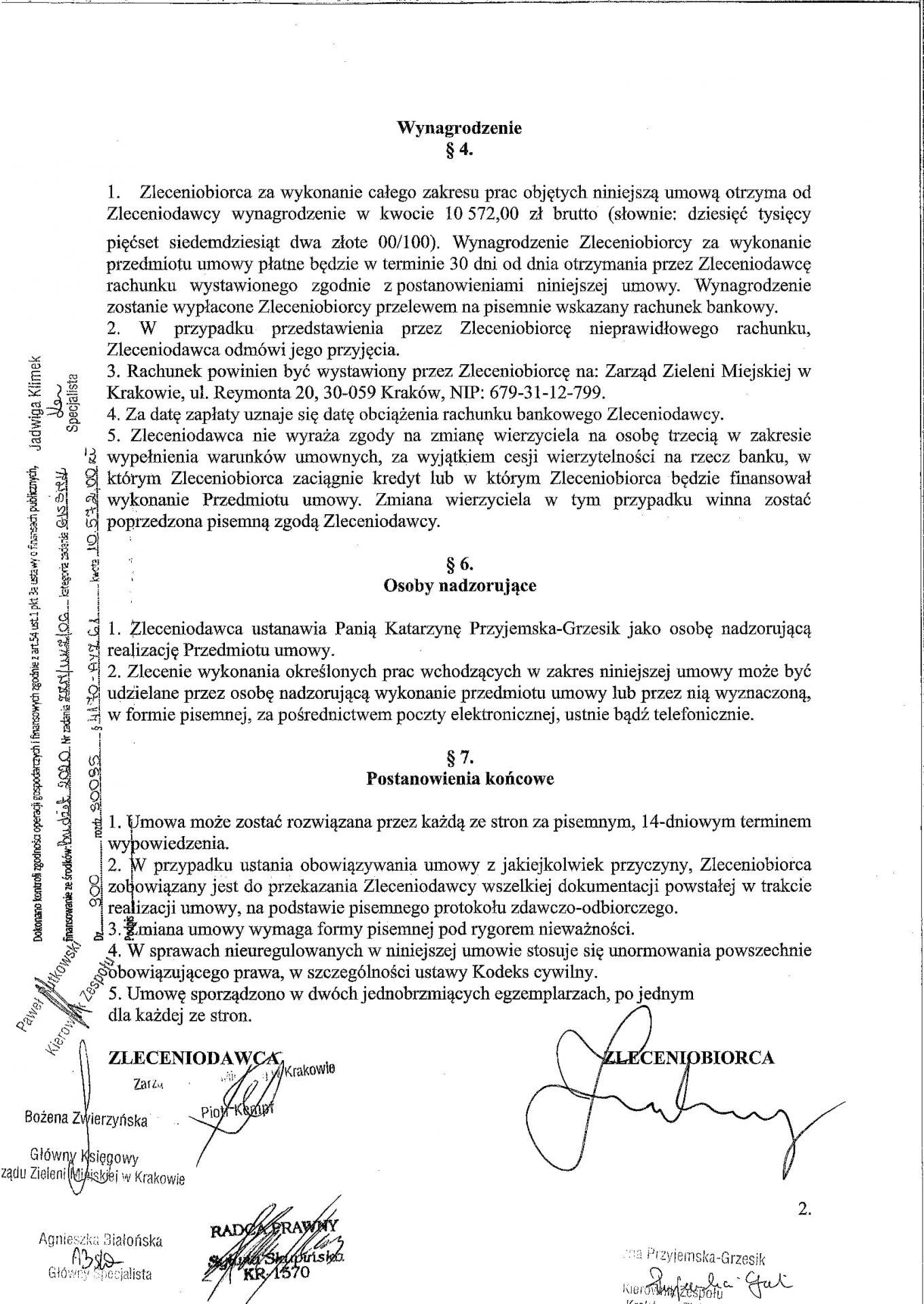 Umowa Zarząd Zieleni Miejskiej Mateusz Zmyślony