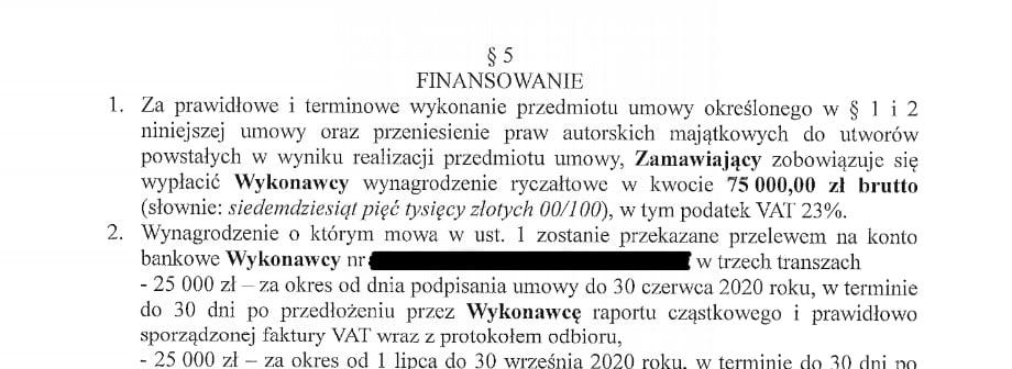 Fragment umowy Kraków Heritage Konsulting.