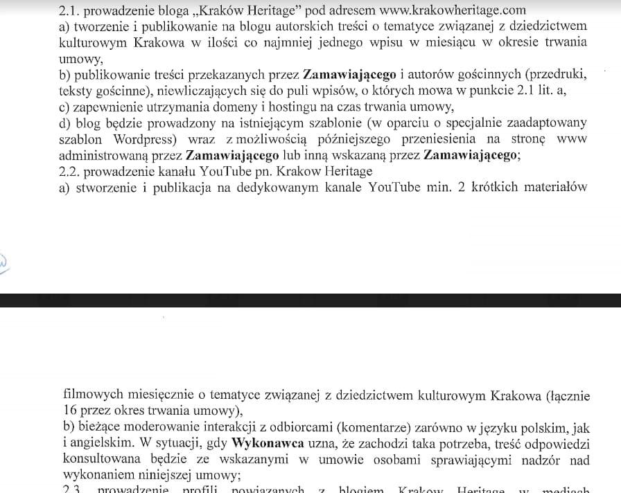 Kraków Heritage umowa na prowadzenie bloga