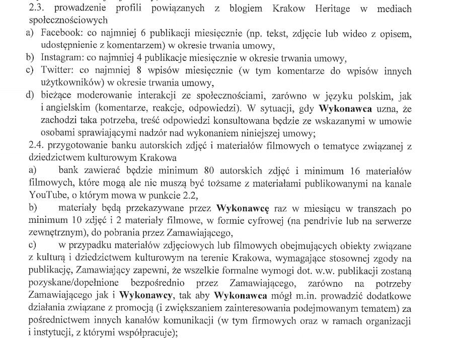 Fragment umowy określający, jak wiele trzeba zrobić przy okazji prowadzenia bloga Kraków Heritage.
