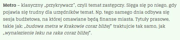 Metro w Krakowie. Definicja.