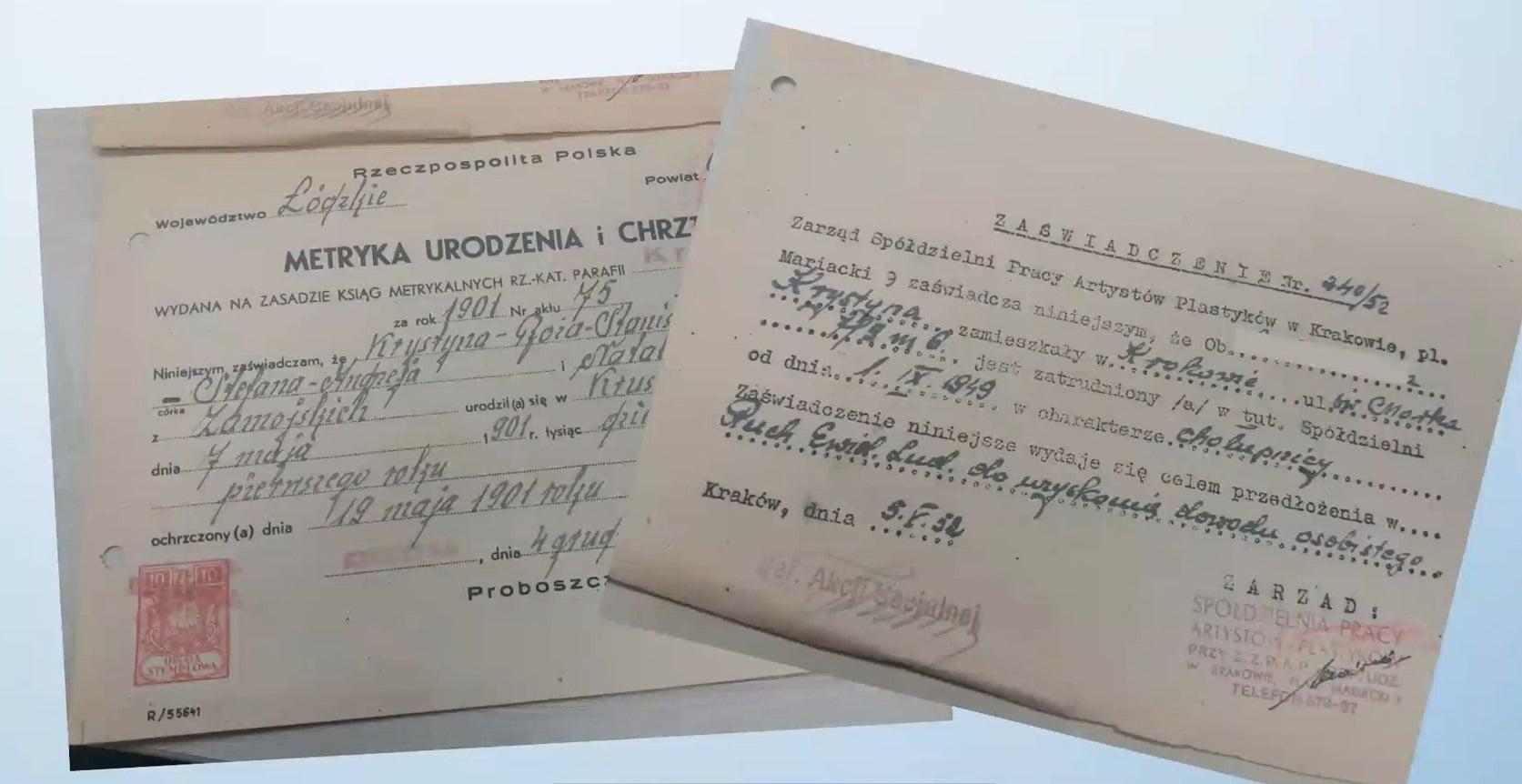 Kaligrafowane dokumenty szlachcianki.