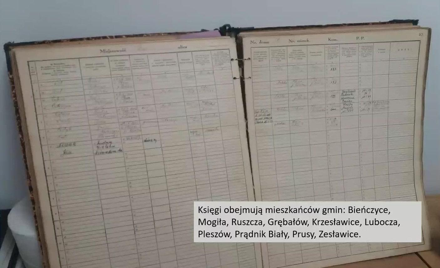 W Archiwum Urzędu Miasta Krakowa znajdowały się także m.in. księgi rejestrów mieszkańców gminy z powiatu krakowskiego, np. Bieńczyc, Mogiły, Ruszczy.
