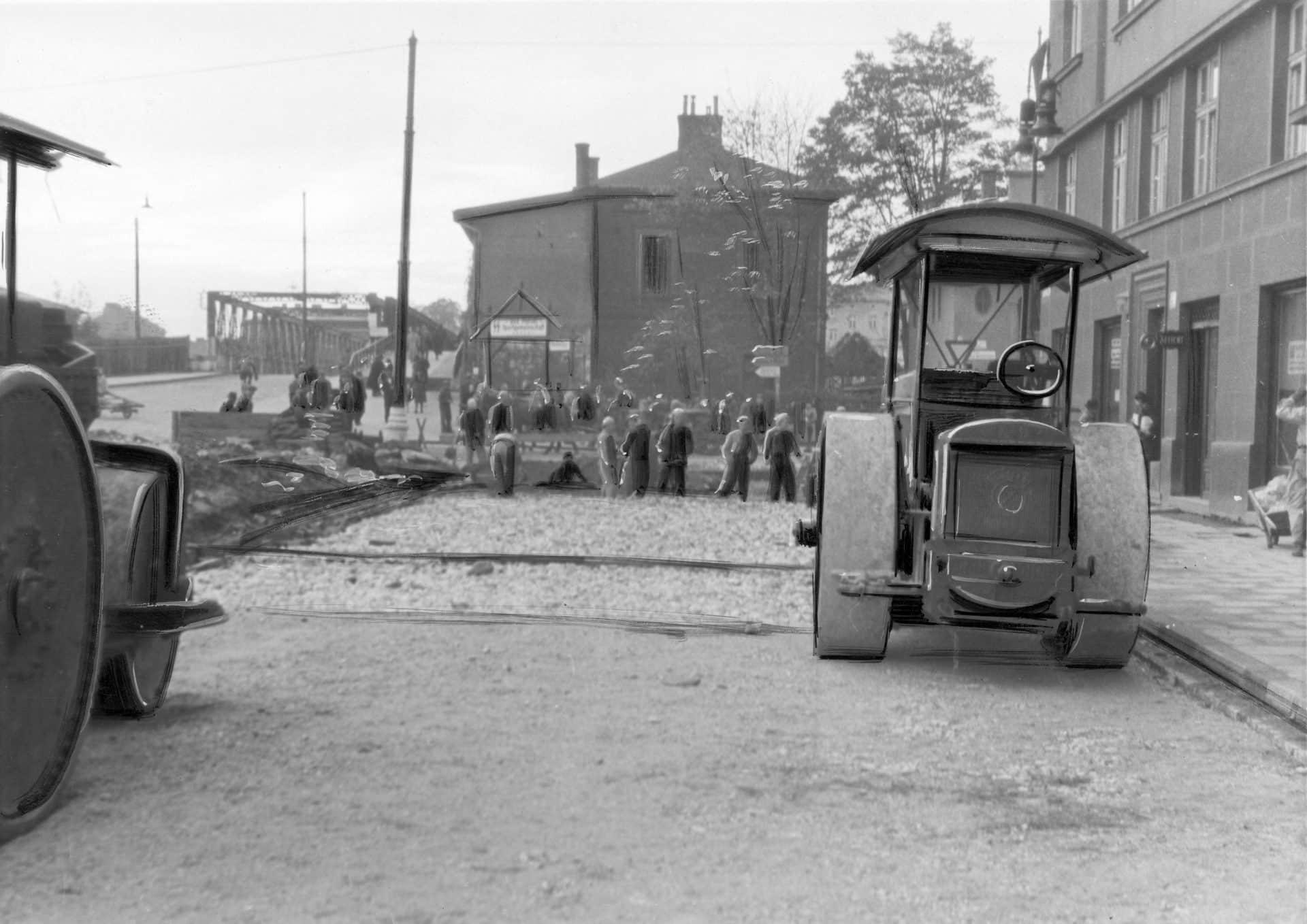 Roboty drogowe w Alei Krasińskiego w Krakowie, 1941 rok. Źródło: Narodowe Archiwum Cyfrowe. Niemiecka okupacja w Krakowie