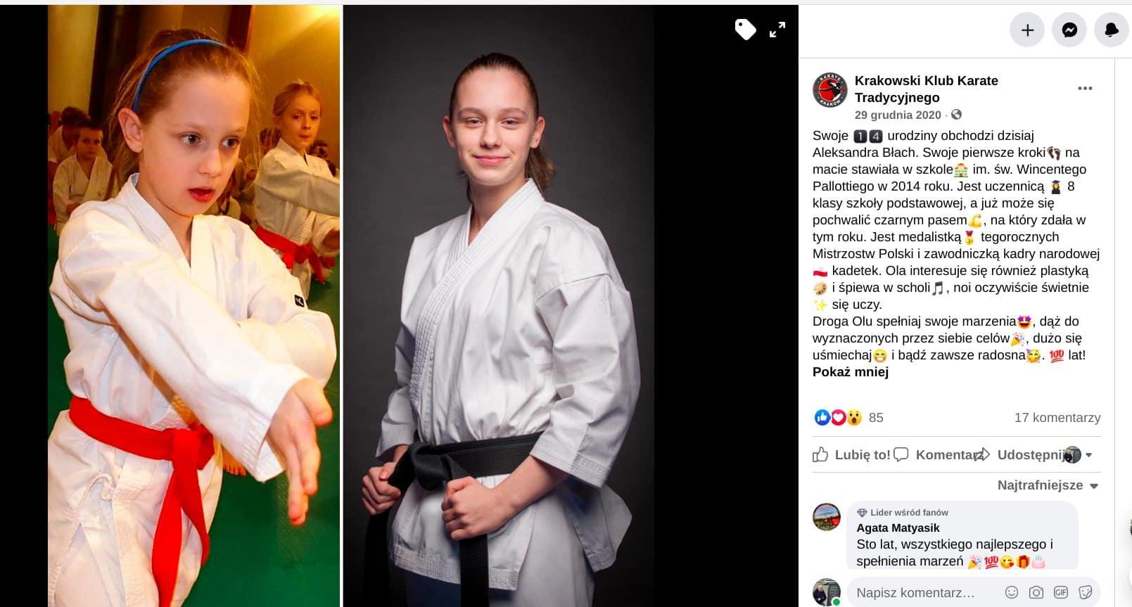 Aleksandra Błach. Medalistka mistrzostw Polski i zawodniczka kadry narodowej. Źródło: Krakowski Klub Karate Tradycyjnego.