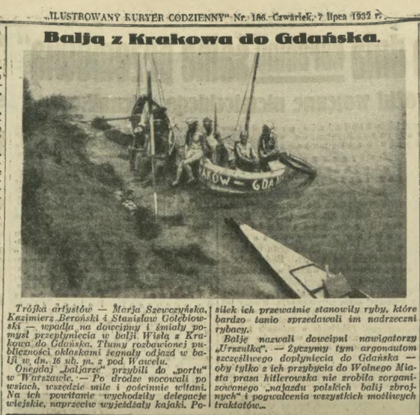 Balią z Krakowa Do Gdańska. Ilustrowany Kurier Codzienny.