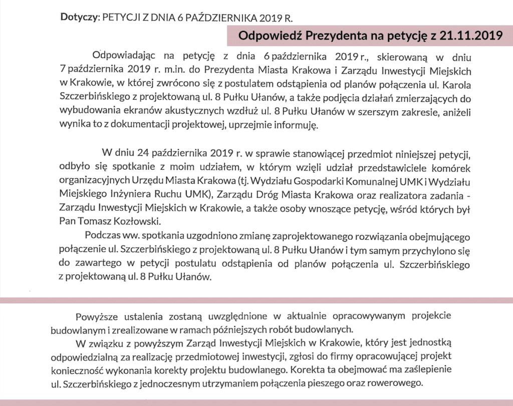 Krakowscy urzędnicy kładą serce na tacy i oddają je mieszkańcom ulicy Szczerbińskiego. Powyżej uprzejma odpowiedź w-ce prezydenta Krakowa na ich petycję. Źródło: www.akcjaratunkowadlakrakowa.pl