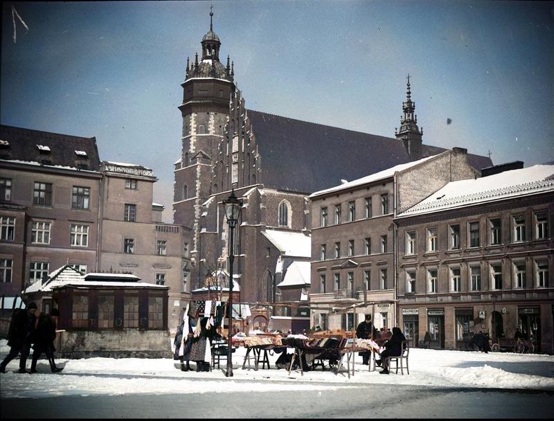 Plac Wolnica w Krakowie w 1935 roku. Źródło: Narodowe Archiwum Cyfrowe. Jewish Quarter Krakow