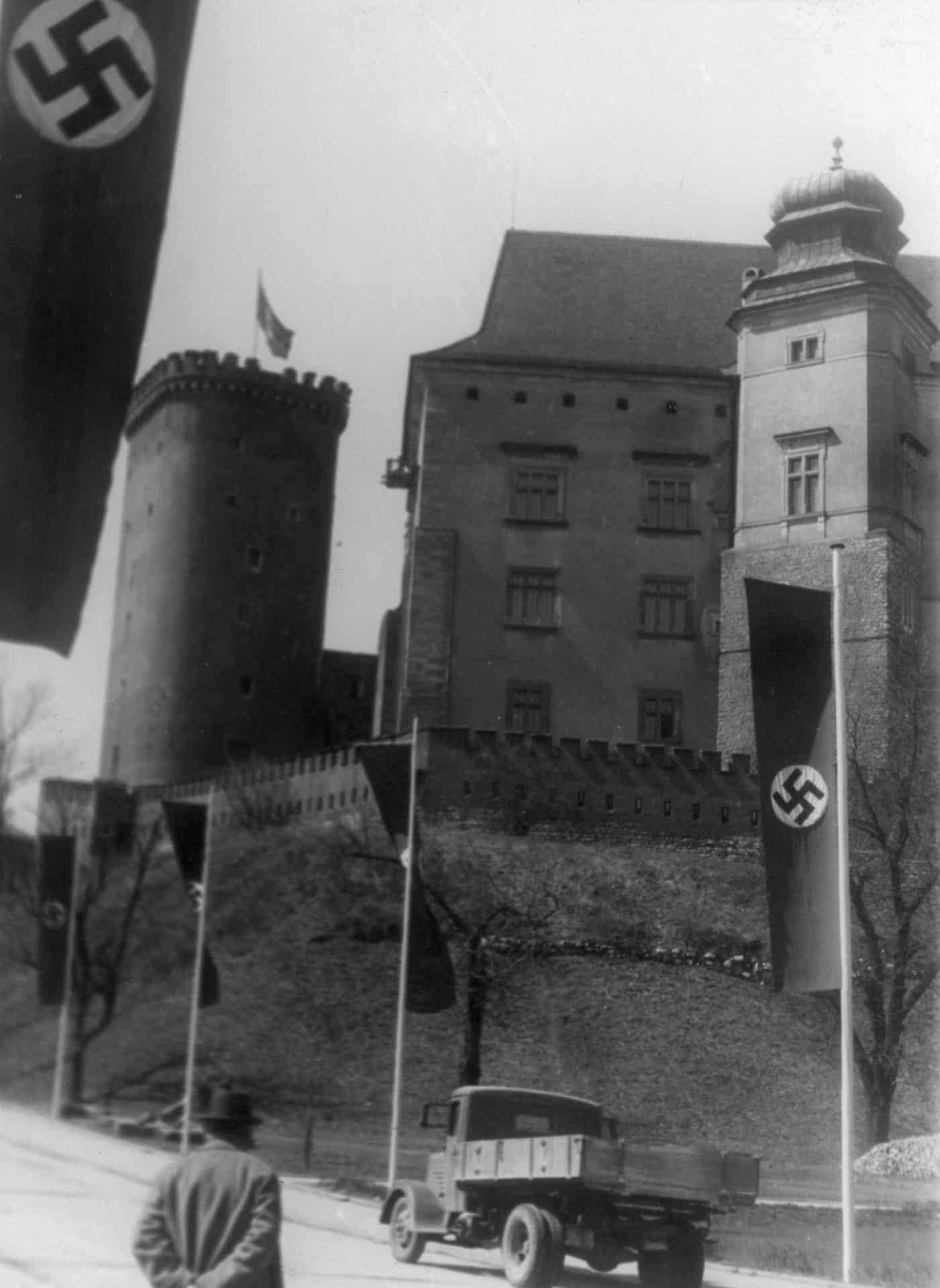 Wawel w czasie okupacji. Źródło: Narodowe Archiwum Cyfrowe. Niemiecka okupacja w Krakowie