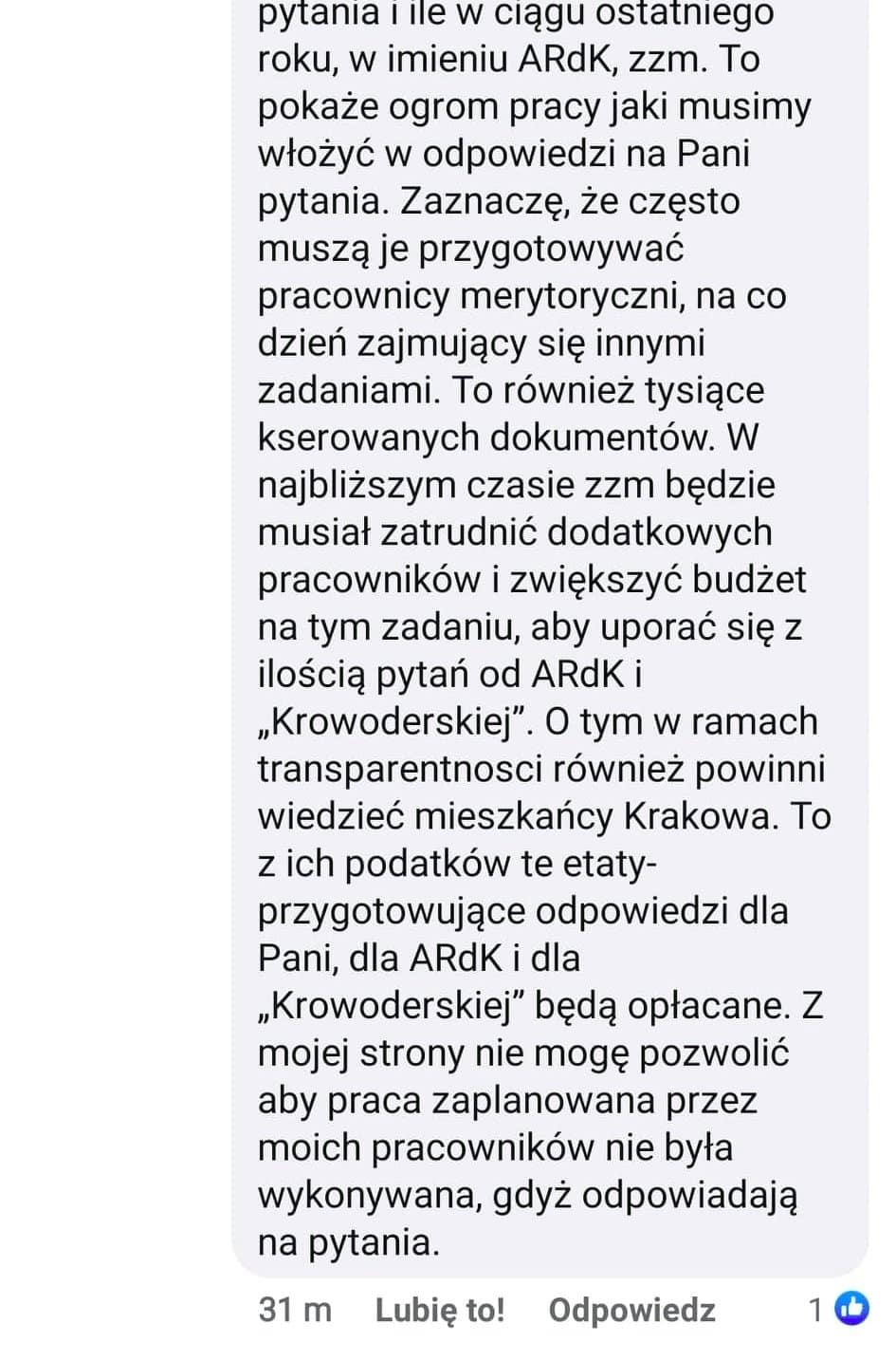Krakowski urzędnik skarży się na zbyt dużą liczbę pytań od mieszkańców.