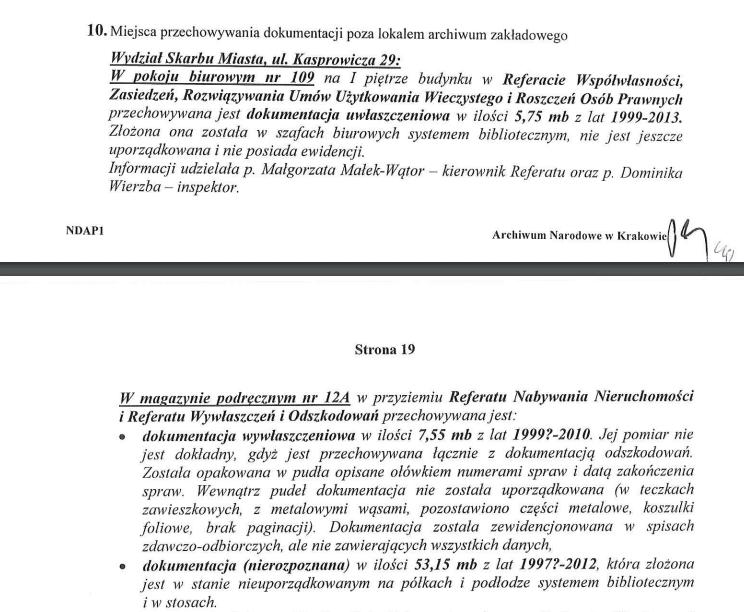 Fragment protokołu kontroli przeprowadzonej w 2014 roku w Archiwum Urzędu Miasta Krakowa.