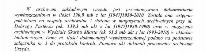 Protokół kontroli archiwum zakładowego UMK.