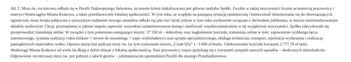 Wodociągi Miasta Krakowa. Odpowiedź udzielona przez Wodociągi Miasta Krakowa na pytanie o koszty związane z mszą rocznicową.