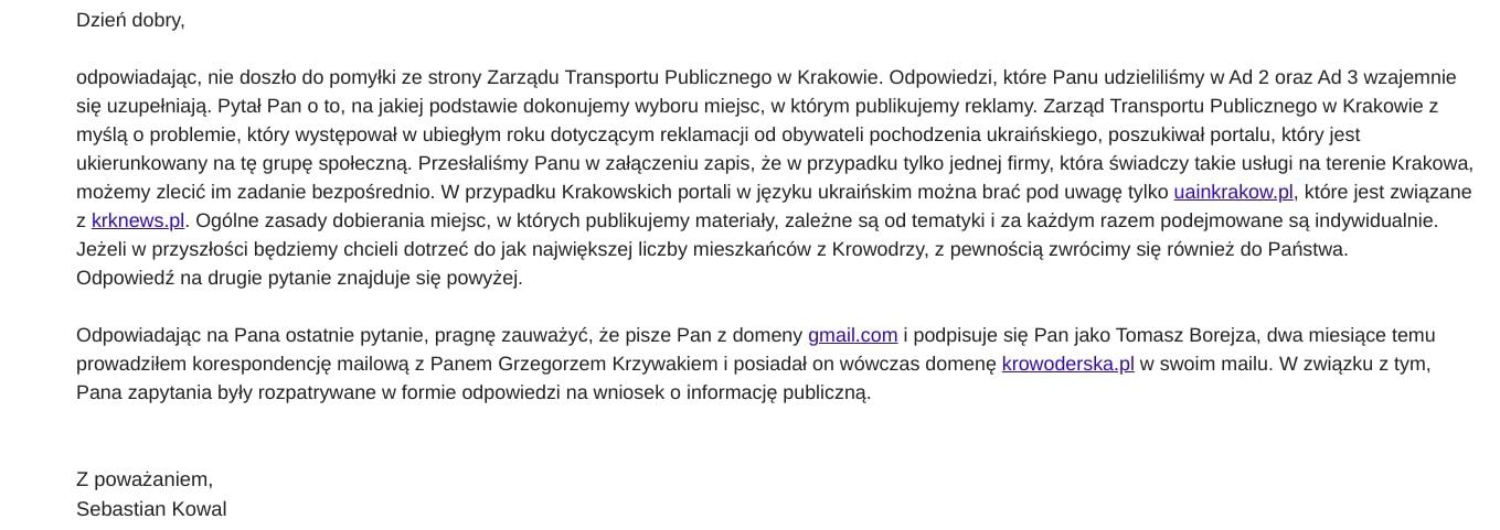 Zarząd Transportu Publicznego Sebastian Kowal