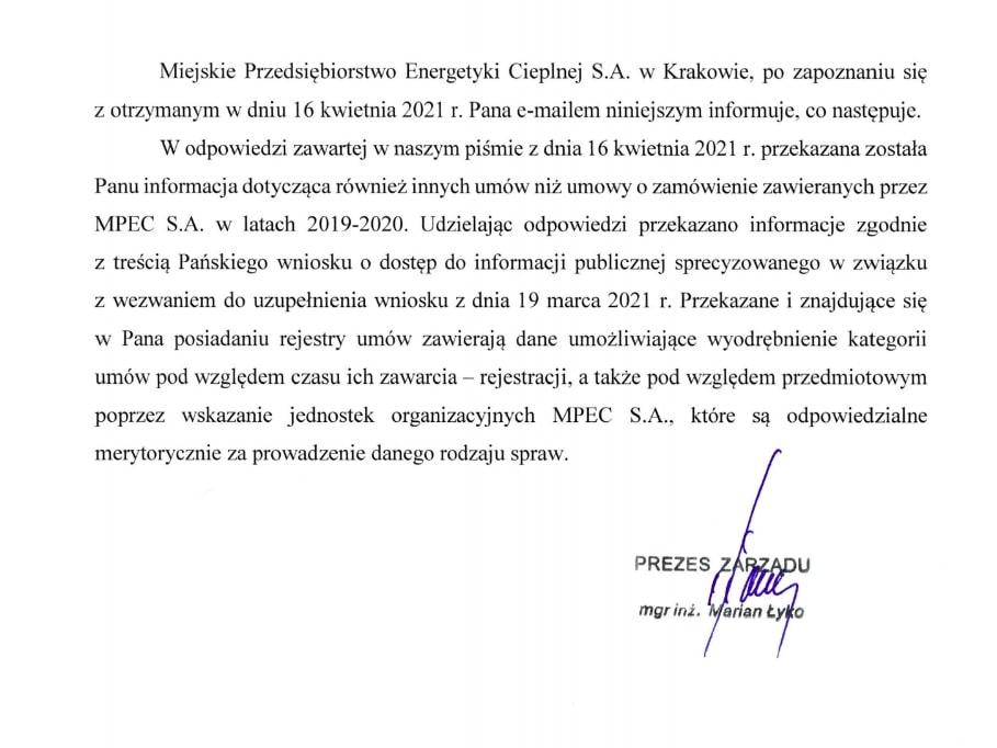 Miejskie Przedsiębiorstwo Energetyki Cieplnej. Kraków. Marian Łyko. Jawność.