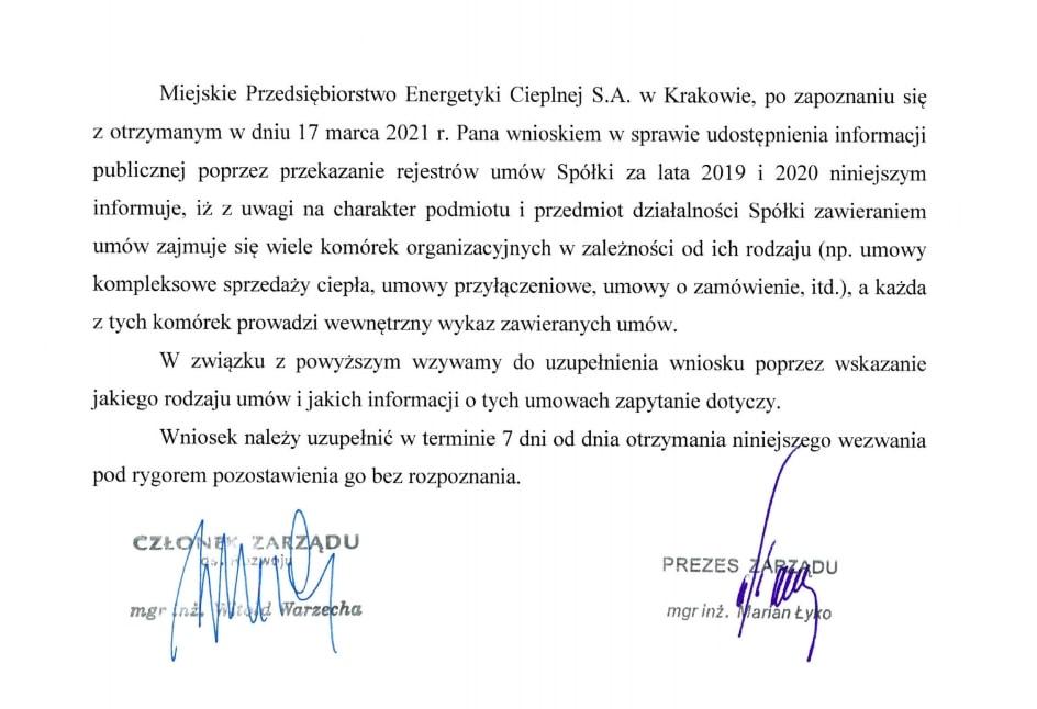 Miejskie Przedsiębiorstwo Energetyki Cieplnej. Kraków.