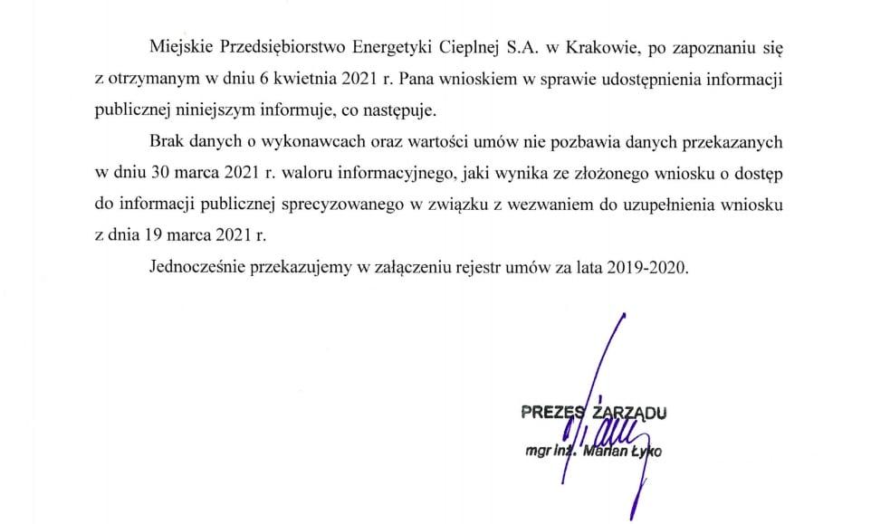 Miejskie Przedsiębiorstwo Energetyki Cieplnej w Krakowie. Marian Łyko.