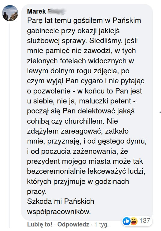 cygara palenie Jacek Majchrowski wizyty