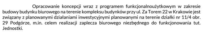 Zarząd Zieleni Miejskiej w Krakowie wyjaśnia potrzebę zbudowania nowego biurowca.
